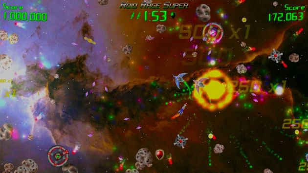 See what I mean about the background? It renders even the screenshots incomprehensible. You know, Asteroids didn't need that shit. If you couldn't see what you were doing in Asteroids, would it have been one of the biggest games ever?  I think the answer is no.