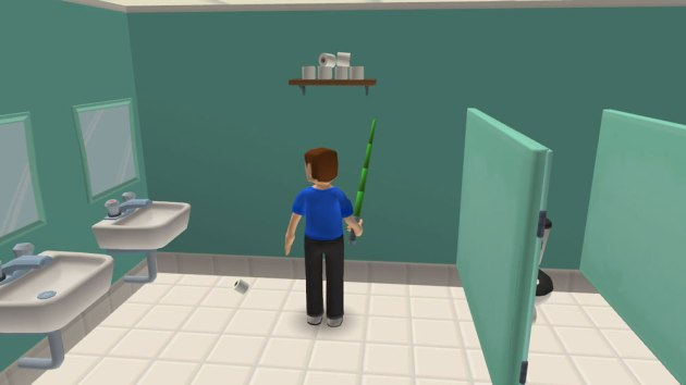 """Despite the clunky interface, the puzzles of Life in the Dorms seem about as logical as your average point-and-click game.  Such as """"Use lightsaber to get toilet paper down from shelf."""""""