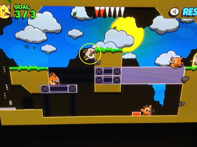 The dude in the yellow circle is NOT supposed to be able to stick to the wall like that. Ironically, this would have been the only stage where I was incorrect about the solution if he had fallen to the ground.