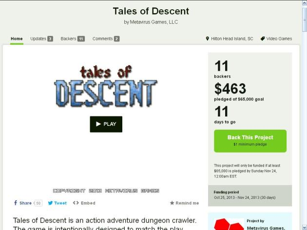 Tales of Descent also doesn't look like it will reach its goal, though I've heard from friends and readers that might be because the demo was underwhelming at best. Still, I appreciated the realistic rewards, all of which come at no cost to the developer. Though really, development streams are the types of things anyone should have access to when promoting your game. They shouldn't be held for ransom when they're promotional in nature. Click the image for the full pitch.
