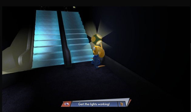Actual screencap from the spot that glitched out on me. I had to turn off Octodad and turn it back on to get the girl to do what she was supposed to do. Most of my viewers insisted the PC version was nowhere near as frustrating as the PS4 version. But, I paid for the PS4 version, so that didn't really help me all that much. They really need to fix this port.