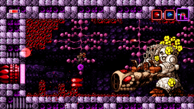 The platform Trace is standing on here is practical invisible. The game has since been patched to make it and others like it stick out more, but there's still some minor visibility issues in Axiom Verge.
