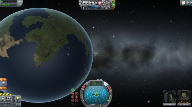 Despite this looking like Earth, Kerbal's solar system is not actually an accurate model of our solar system. Earth is now called Kerbin. The Moon is called Mun. They should let you rename all the stuff. Maybe you can. Maybe it's in the tutorial. I'll get to it just as soon as I land on the Sun. Or Kerbol as it's called in the game. Kerbol. Kerbin. Yea, that won't get confusing.